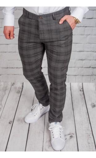 Spodnie męskie chinosy materiałowe grafitowe DJ-4