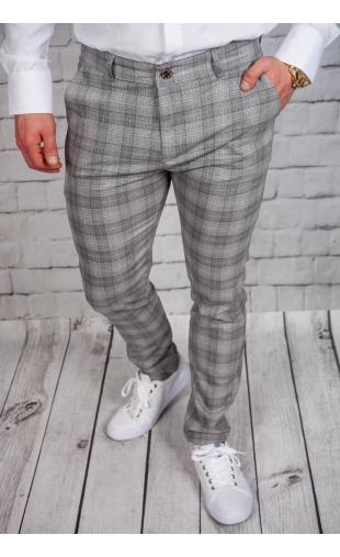 Spodnie męskie chinosy materiałowe szare DJ-4