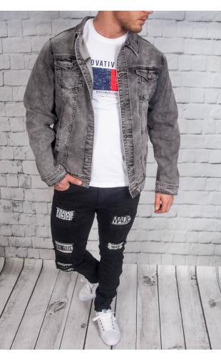 Kurtka jeansowa ciemo szara