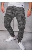 Spodnie joggery bojówki moro szare 8903-5