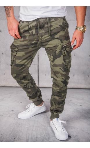 Spodnie joggery moro zielone 8903-5