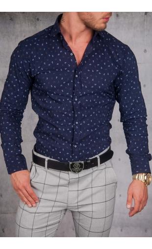 Koszula Męska Granat Wzory