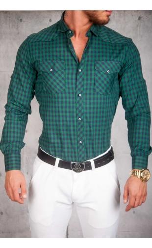 Koszula Męska w kratę zielony-granat