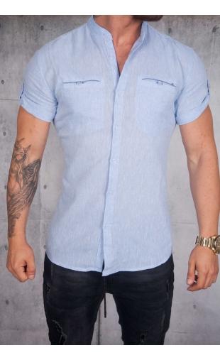 Koszula lniana krótki rękaw błękitna