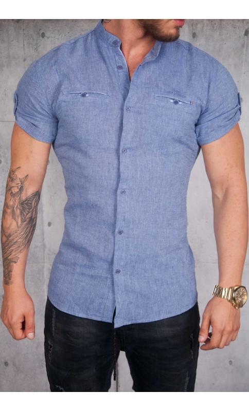 Koszula lniana krótki rękaw niebieska  pFFJf