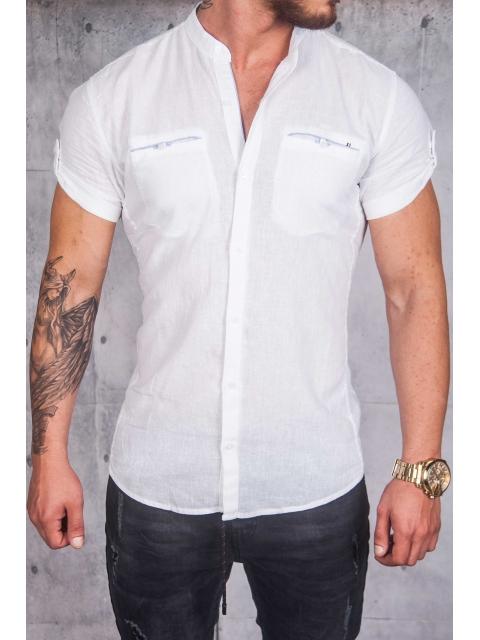 Koszula lniana krótki rękaw stójka biała BG-3
