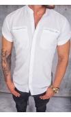 Koszula lniana krótki rękaw stójka biała