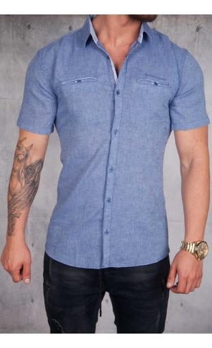 Koszula lniana krótki rękaw niebieska