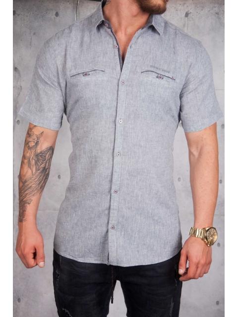 Koszula lniana krótki rękaw szara BG-5