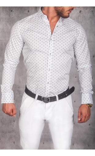 Modna koszula męska biała wzór