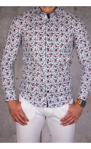 Koszula męska biała w kwiaty img