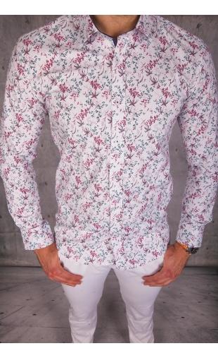 Koszula męska biała w kwiaty img-1