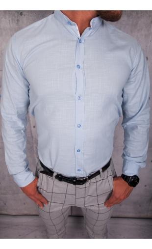Koszula męska błękitna stójka lato img-005