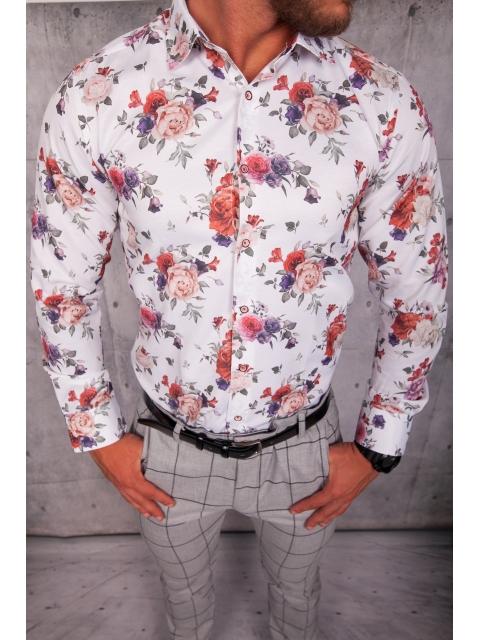 Koszula męska biała w kwiaty ESP-9