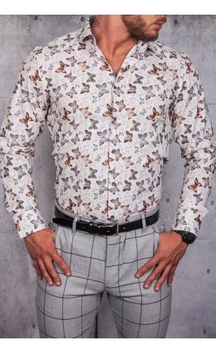 Koszula męska biała w motyle ESP-11