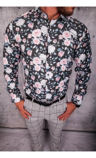 Koszula męska czarna w kwiaty ESP-12