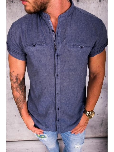 Koszula męska krótki rękaw stójka img-008