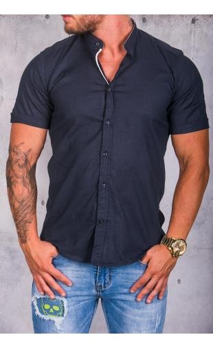 Koszula męska granatowa stójka img-007