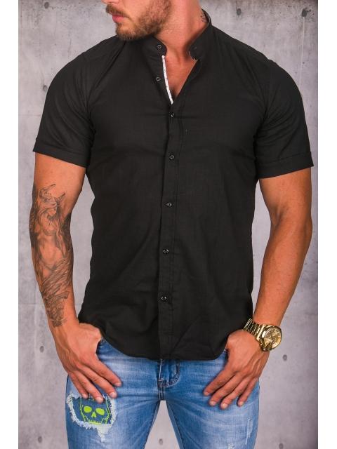Koszula męska czarna stójka img-009