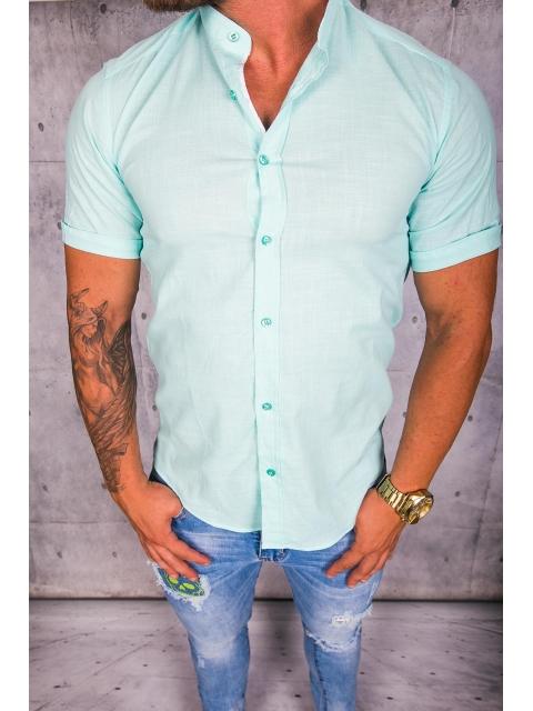 Koszula męska błękitna stójka img-010