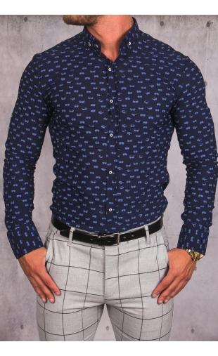 Koszula męska granatowa wzór img-015