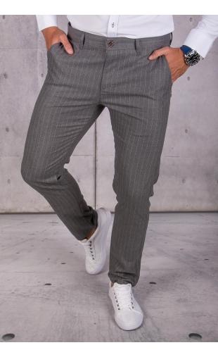 Spodnie chinosy materiałowe grafitowe w paski DJ-9