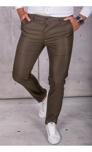Spodnie chinosy materiałowe brązowe w kratę DJ-10