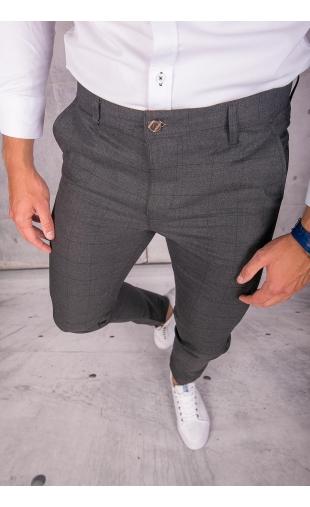 Spodnie chinosy materiałowe grafitowe w kratę DJ-11