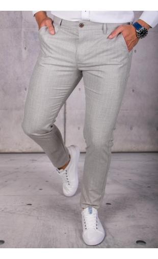 Spodnie chinosy materiałowe szare w kratę DJ-12