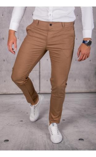 Spodnie chinosy materiałowe musztardowe DJ-14