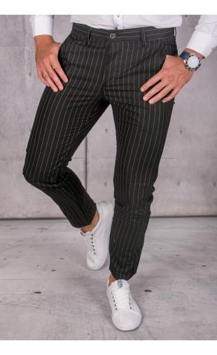 Spodnie chinosy materiałowe czarne w paski DJ-16
