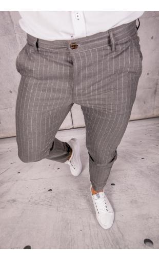 Spodnie chinosy materiałowe ciemne szare w paski DJ-17
