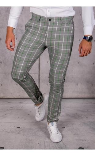 Spodnie chinosy materiałowe szare w kratę DJ-18