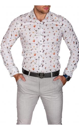 Koszula męska biała w kwiaty stójka img-020
