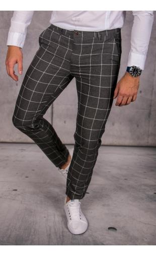 Spodnie chinosy materiałowe grafitowe w kratę DJ-20