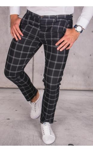 Spodnie chinosy materiałowe czarne w kratę DJ-22