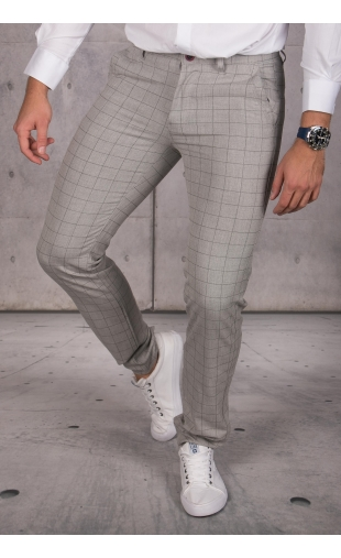 Spodnie chinosy materiałowe szare w kratę DJ-25