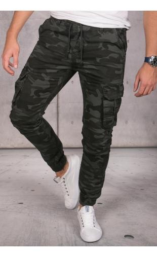 Spodnie ocieplane joggery grafitowe moro IT