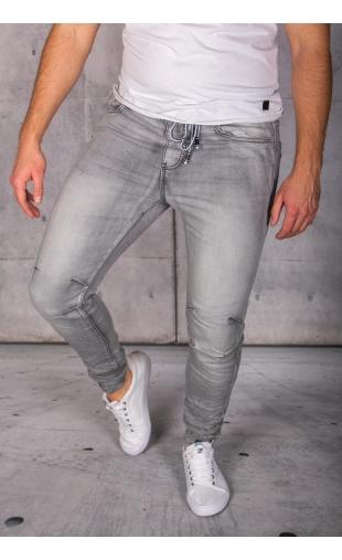 Spodnie jeansowe joggery szare