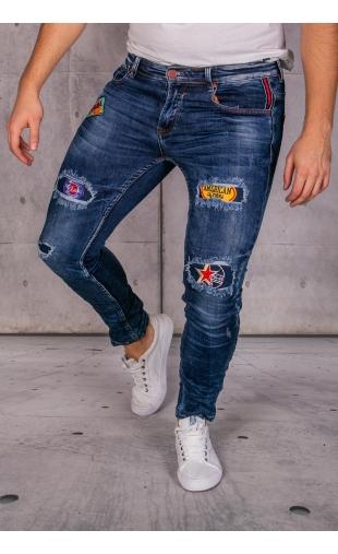 Spodnie jeansowe naszywki