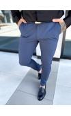 Spodnie chinosy materiałowe beżowe w kratę DJ-24