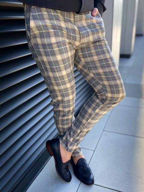 Spodnie chinosy materiałowe dj-39 beż brąz w kratę