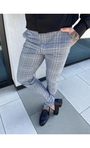 Spodnie chinosy materiałowe dj-34 beż brąz w kratę