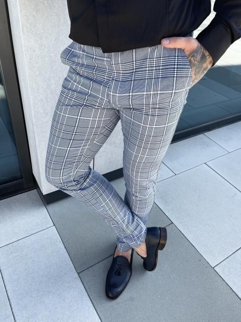 Spodnie chinosy materiałowe dj-36 szare grafit w kratę