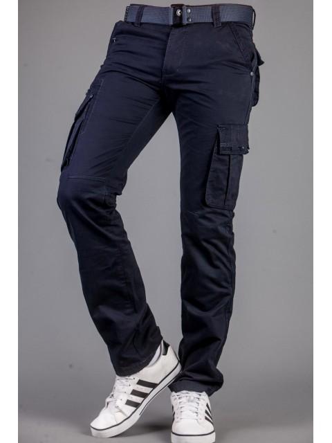 Spodnie bojówki+pasek granat 9079-4